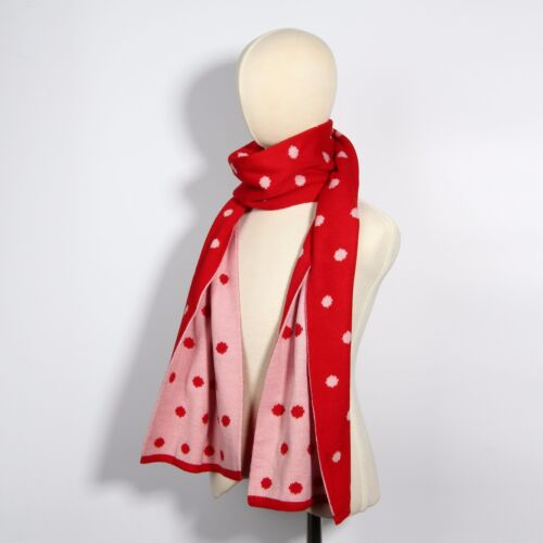Yellow Blue or Red Pink Reversible Knit Polka Dot Winter Scarf Wrap