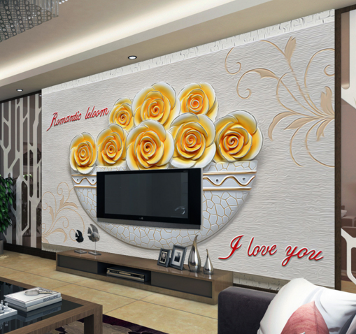 3D Roses Gelb 4558 Wallpaper Murals Wall Print Wallpaper Mural AJ WALL UK Kyra