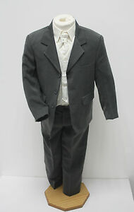 Boys Suits 5 Piece Grey Ivory Suit Wedding Page Boy Baby Formal Party Smart