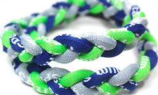"Kid 18"" Twist Titanium Sport Necklace Neon Green Gray Navy Blue Tornado Baseball"