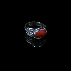 QVC-925-Sterling-Silver-Natural-Red-Bamboo-Coral-Oval-Ring-Band-Size-7