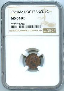 Napoleon III (1852-1870) 1 Penny 1855 Ma Marseille NGC Ms 64 RB