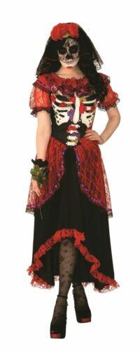 Womens Day of the Dead Costume Skeleton Dress /& Headpiece Senorita Lace Gown