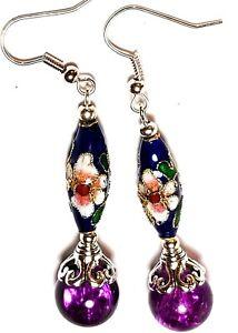 Long-Purple-Blue-Earrings-Chinese-Cloisonne-Bead-Antique-Vintage-Style-Pierced
