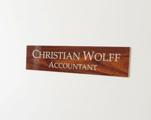 """Personalised Name Sign Plaque Door 10/"""" x 2.5/"""" Custom Engraved Office Sign"""