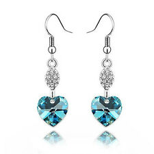 Orecchini placcati argento cuore cristallo azzurro Women earrings crystal heart