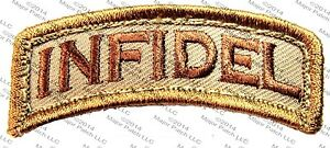 INFIDEL-USA-ARMY-MORALE-ROCKER-TAB-MILITARY-ISIS-TACTICAL-DESERT-HOOK-PATCH