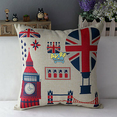 NEW British Style London Cotton Linen Decorative Throw Pillow Case Cushion Cover