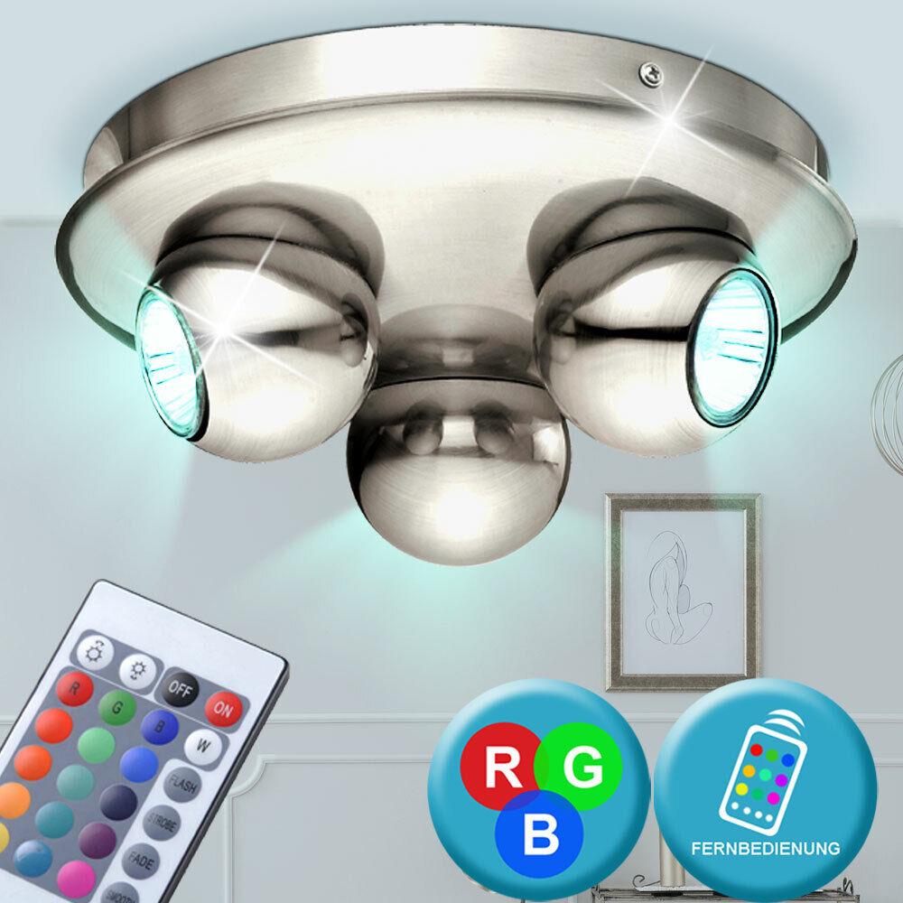 RGB LED Rondell Decken Leuchte dimmbar Fernbedienung Kugel Strahler Living-XXL