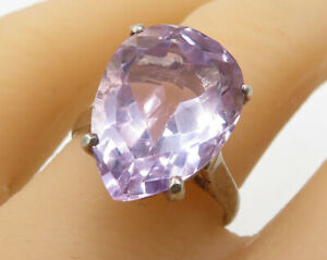 925-Silver-Vintage-Faceted-Amethyst-Tear-Drop-Solitaire-Ring-Sz-7-R2735
