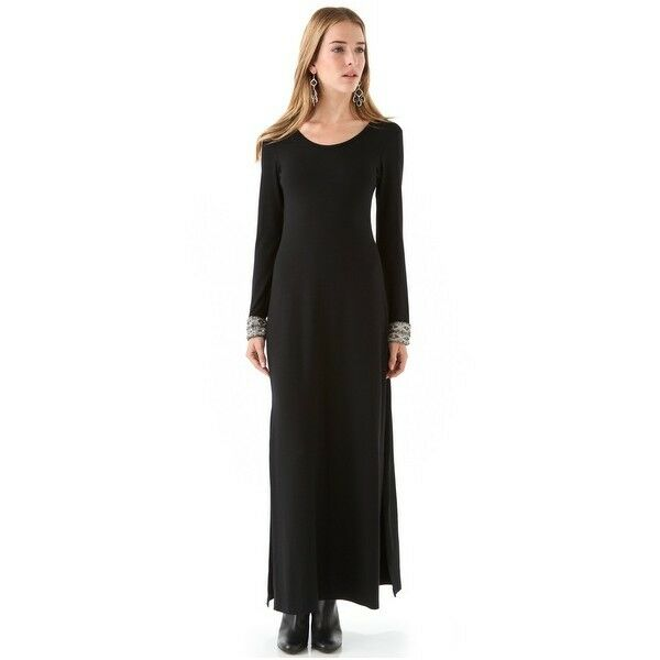 NEW CANDELA 'Crawford' Keyhole Back EMBELLISHED Cuffs Gown (Größe M) schwarz