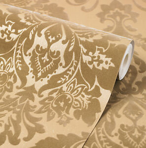 Image Is Loading Exclusive Havana Velvet Flock Gold Damask Wallpaper H66010