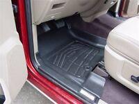 Front & Second Row Black Floor Mats For A 2009 - 2012 Dodge Ram Crew Cab