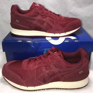 Asics-Mens-Size-8-Gel-Classic-Burgundy-Retro-Leather-Casual-Running-Shoes-New