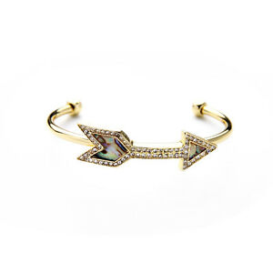 Exquiste-Anthropologie-Abstract-Opel-Arrow-Rhinestone-Gold-Trim-Bracelet