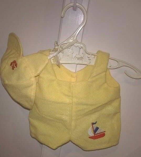 1980s Cabbage Patch Kids Preemie Yellow Cord Sailboat Set Hat and Romper