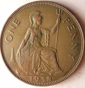 1938-Gran-Bretana-Penny-Excelente-Vintage-Moneda-Bretana-Bin-5