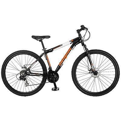 """29"""" Mongoose Men's Impasse Mountain Bike Disc Brakes, Black Orange"""