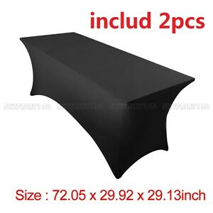 2pcs-6-039-ft-Spandex-Fitted-Stretch-Tablecloth-Table-Cover-Wedding-Party-Black