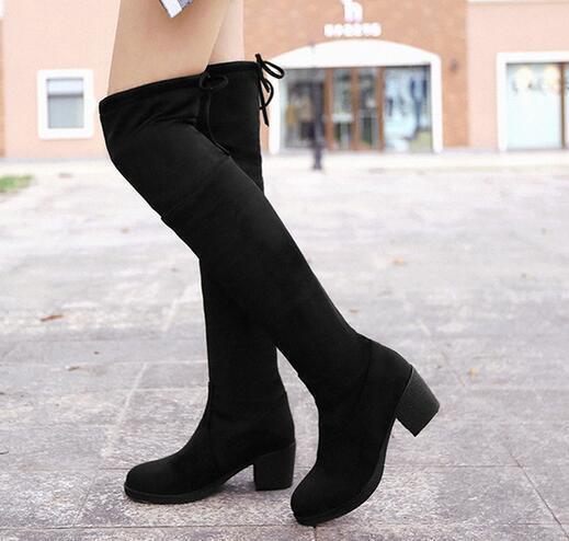 stiefel schenkel frau hohe absätze 6 cm schwarz komfortabel heiß simil leder