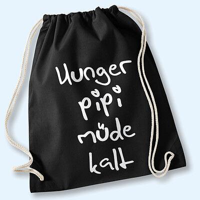 Hipster Beutel Tasche Baumwolle Gymbag Turnbeutel Hunger Pipi Müde Kalt