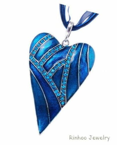 Vintage Crystal Heart Leaf Lampwork Pendant Sweater Chain Necklace Women Gift