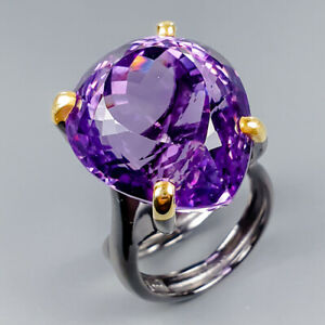 Vintage24ct-Natural-Amethyst-925-Sterling-Silver-Ring-Size-8-5-R119914