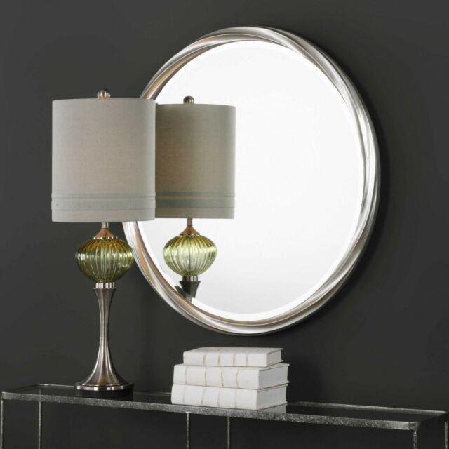 Orion Xxl 33 Metallic Silver Twist Frame Beveled Wall Mirror Vanity Mirror For Sale Online