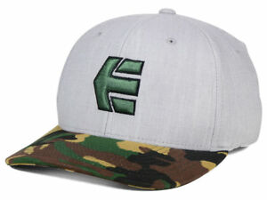 4ed1b532dc1 Etnies Icon 5 Camo and Grey Mens Flex Fit Cap Hat size L XL NWT ...