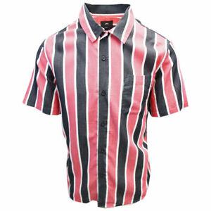 OBEY-Men-039-s-Black-amp-Red-Wicker-Stripe-Camp-S-S-Shirt-Retail-59-99-S08