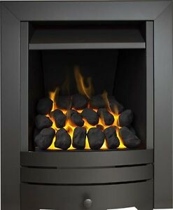 slimline inset gas fire black steel coal fireplace precast. Black Bedroom Furniture Sets. Home Design Ideas