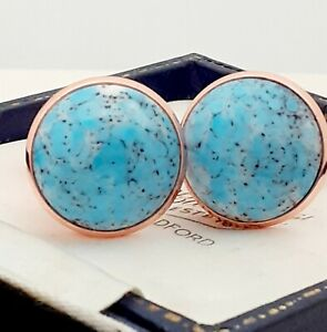 Vintage-1950s-Turquoise-Blue-Marble-Glass-Large-Round-Rose-Goldtone-Cufflinks