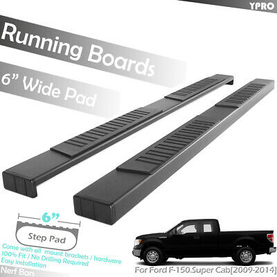 """FOR FORD F150 2009-2014 SUPER CREW CAB 4/"""" CURVED SIDE STEP NERF BAR PAIR BLACK"""
