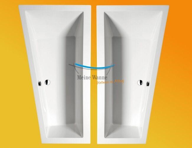Raumspar Badewanne Andrea 170 x 90 oder 180 x 90 cm, Acryl weiß, Zubehör möglich