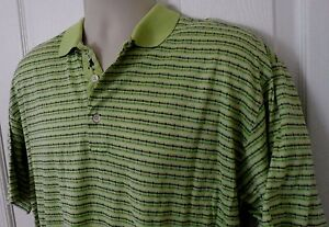 Mens-Bobby-Jones-Polo-Short-Sleeve-Golf-Shirt-Green-Striped-Size-L