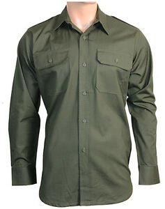 Olive-Green-Ripstop-Field-Shirt-All-Sizes-Cotton-Army-Tactical-Top-Long-Sleeve