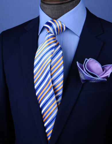 "Golden /& White 3/"" Necktie Business Formal Elegance for Smart Men/'s Ego Blue"