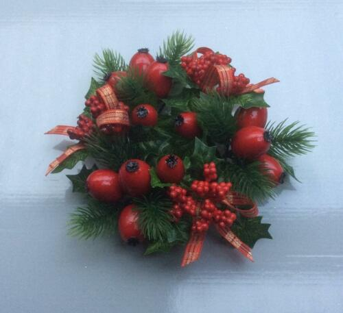 """2.25/"""" Candle Ring Christmas Decoration /'Red Berry//Tartan Ribbon/' Fits Pillar Can"""