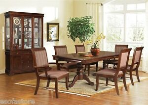 Formal 7 Pc Dining Table Set Side & Arm Chairs Espresso Finish Dining Room Home
