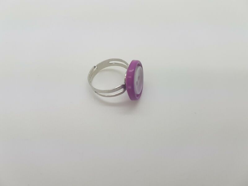 New Handmade Pretty Purple And Clear Double Button Adjustable Silver Ring R7