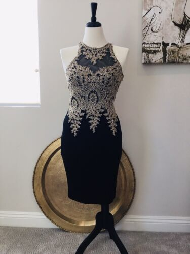 Evening Dress With Gold Embelished Top