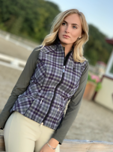 Arista Equestrian Wool Plaid Vest in Lavendar