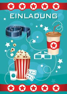 einladungskarten einladungen kinder geburtstag kino-party