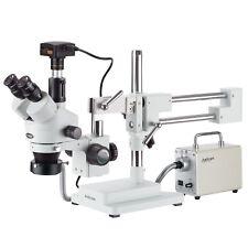 35x 180x Simul Focal Trinocular Stereo Microscope Led Fiber Optic 18mp Usb3