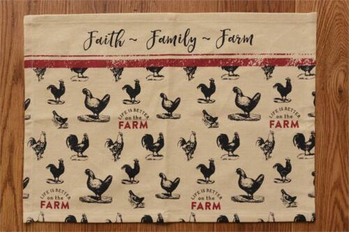 New Primitive Red Black FAITH FAMILY FARM Rooster Chicken Table Place Mat
