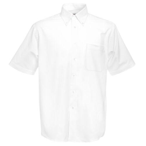 Oxford Short Sleeve Mens Shirt Mitred chest pocket Office Work School S 3XL