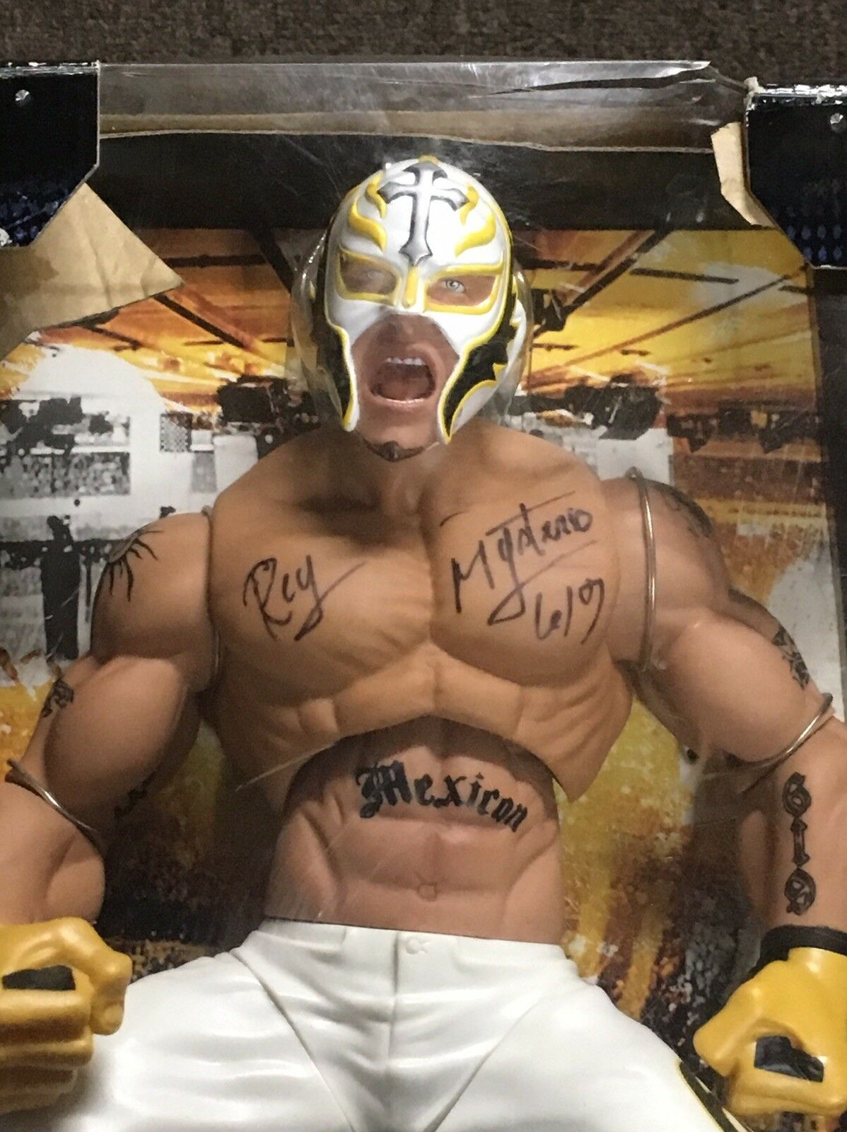 Autographed WWE Rey Mysterio Ring Giants Giants Giants 14 Poseable Action Figure d3dc56