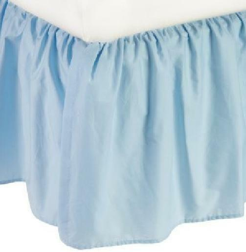 Split Corner Ruffle Bed Skirt 650-TC Cotton Solid Light bluee All Size Drop Sale
