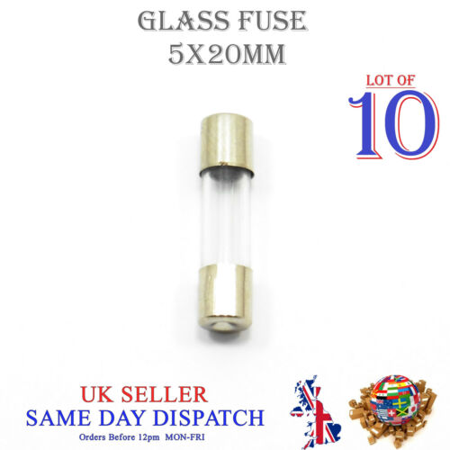 10x 5x20mm Glass Fuse Fast Blow Acting 250v