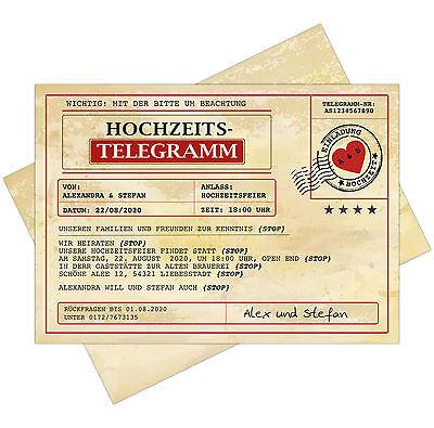 """Carte Invito Al Matrimonio Come Telegramma Con Uv Colori Cartolina Invito-en Zur Hochzeit Als Telegramm Mit Uv-farben Einladung Postkarte"""" Data-mtsrclang=""""it-it Mostra Il Titolo Originale"""
